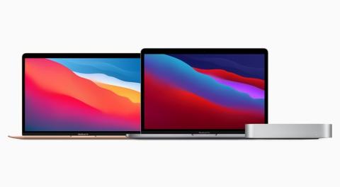 左からAppleシリコン「M1」を搭載するMacBook Air、13インチMacBook Pro、Mac mini。デザインはいずれも従来モデルから大きな変更はない(写真提供/アップル)