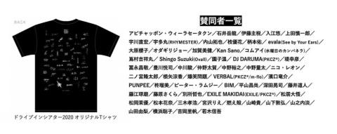 ドライブインシアター2020のプロジェクトに賛同した著名人のサインが入ったTシャツを返礼品にした。今後は会場での販売も行う