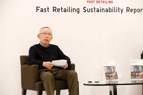 2021年2月2日に「サステナビリティレポート2021」を発表したファーストリテイリングの柳井正会長兼社長