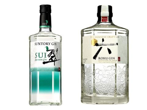 サントリースピリッツの国産ジン「翠(SUI)」(左)、「ROKU」