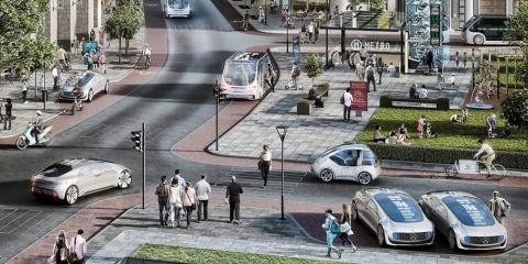 ダイムラーが描く将来のモビリティ社会のイメージ。手前側には自動運転タクシーの待機場、中程には自動運転バスの停留所、左奥にもシェアカーの乗降場が描かれているなど、路肩活用のアイデアが豊富に盛り込まれている(画像/ダイムラー)