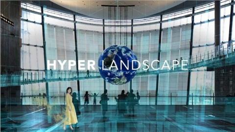 日本科学未来館の館内に構築されたデジタル空間「HYPER LANDSCAPE」。バーチャルヒューマンが館内を案内してくれる