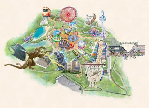 リニューアル後の園内マップ。TM&©TOHO CO.,LTD. ©TEZUKA PRODUCTIONS