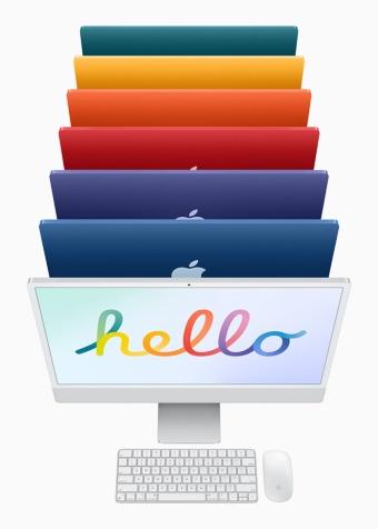 M1チップを搭載した、アップルの24インチディスプレー一体型デスクトップパソコン「iMac」。カラーバリエーションはカラフルな7色
