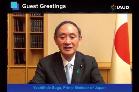 開会式で映し出された菅義偉内閣総理大臣からのビデオメッセージ。感染制御対策とユニバーサルデザインへの期待を語った