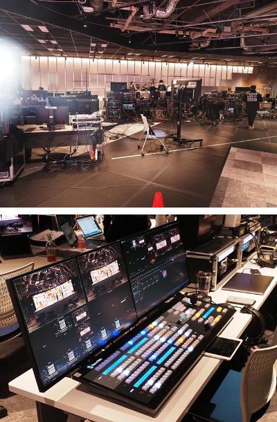 A studioのステージには、3D映像を描き出すサーバーや、カメラの切り替えを行うスイッチャーなどの配信機材が並ぶ。ステージの内容によって臨機応変に機材の追加ができる