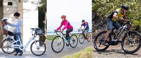 子乗せや街乗り、自転車旅用、オフロード走行可能なモデルまで車種多様化が進む電動アシスト自転車(画像提供/BESV JAPAN〈左〉、星野 知大〈中央、右〉)