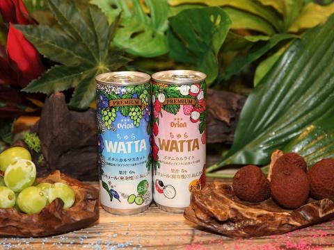 オリオンビールは2021年7月20日に「ちゅらWATTA ボタニカルマスカット」(左)と「ちゅらWATTA ボタニカルライチ」を発売した。標準小売価格はコンビニエンスストア(CVS)で189円(写真提供:オリオンビール)