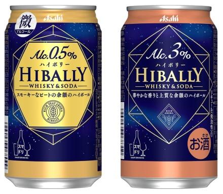 9月28日に発売するアルコール0.5%の「アサヒ ハイボリ―」と、「アサヒ ハイボリ― 3%」(どちらも税別181円)。ニッカウヰスキー社のブレンダーが選んだモルト原酒を使用している