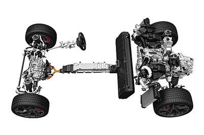 後部に配置したエンジンとモーターで後輪を、前部のモーターで前輪を駆動。前後の重量配分はスポーツカーとして理想的な比率に