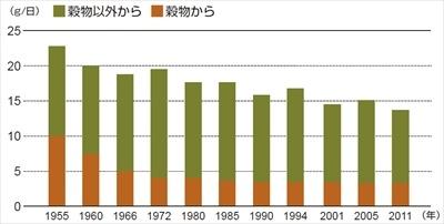 食物繊維不足の原因は、穀物繊維の摂取減