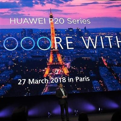 ファーウェイはPシリーズの新機種「HUAWEI P20」を3月27日、パリで発表する。写真は2月25日のファーウェイ新製品発表会より