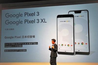 ドコモはグーグルの「Pixel 3/3 XL」を含めハイエンドモデル4機種をそろえたが、いずれも他社が既に発表したものと同じモデルだ。写真は10月17日のNTTドコモ新商品発表会より