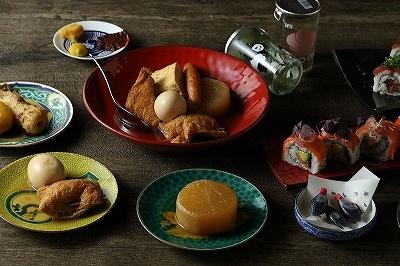 こちらトーキョー~TOKYO CALLING~のメニュー。「サーモンとアボカドのロール寿司」(850円)、「トーキョーおでん(全10種)」(200円~)など