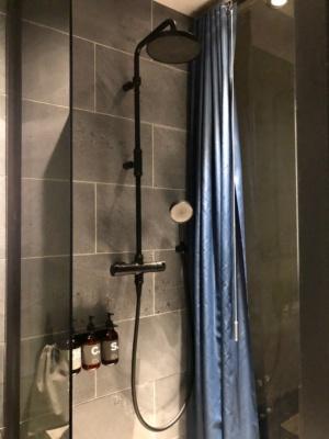 Sタイプには浴槽はなくシャワーだけだが、オーバーヘッドシャワーを備えている。シャンプーなどのアメニティはボタニカとのコラボ