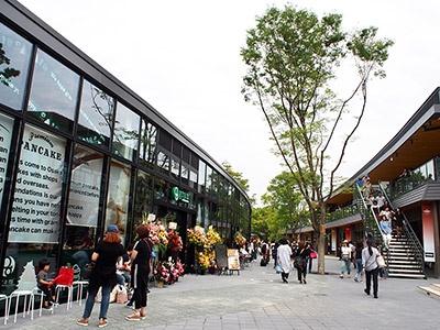 自然と調和した設計で、緑豊かな公園のなかを散歩しながら店を見て回ることができる