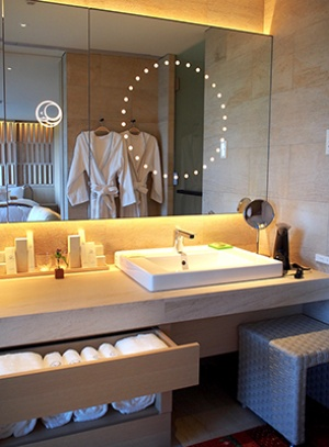 鏡に浮かぶホテルのロゴマークも森田恭通氏のデザイン。「象」と「月」という2つのモチーフを組み合わせ、たくましさや安心感、日本人の心を表現した