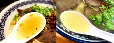 牛骨、牛肉、多種類のスパイスを長時間煮込んで作った、さっぱりした中にもコクを感じるスープがベース。日本のラーメンにはなかった独特のスパイスの香りが食欲をそそる(左がマーズルー、右が火焔山。以下同)