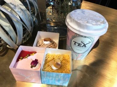 卵、乳製品、小麦不使用でグルテンフリーのスイーツ。「苺のショートケーキ」(写真左)、「モンブラン」(写真奥)、安納芋とリンゴのタルト「スイートポテトタルト」(写真右)、各430円