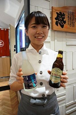北海道の地ビール「大沼ビール」(800円)や函館の地酒「臥牛山」(1650円)も飲める