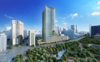 2018年3月開業予定の「東京ミッドタウン日比谷」(千代田区有楽町1-1-2)。地上35階、地下4階、ペントハウス1階。敷地面積約1万700平米、延床面積約18万9000平米。店舗数は60