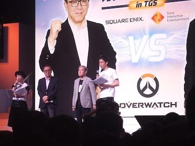 中央の2人が両社のボス。左がスクウェア・エニックスの松田洋祐氏、SIEはプレジデントの盛田厚氏