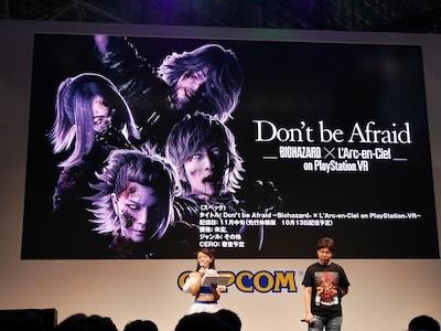 「Don't be Afraid -Biohazard × L'Arc-en-Ciel on PlayStation VR-」は11月中旬予定で、先行体験版が10月13日に配信される