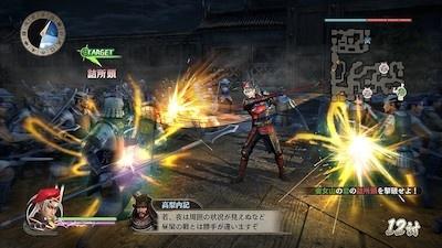 多くの敵が待ち受ける戦場で、一騎当千の活躍を見せる真田幸村。「無双」シリーズならではの豪快なアクションを味わおう