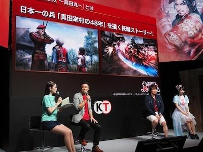 従来のシリーズ作品と違い、真田幸村という一人の武将に焦点を当て、その一生を描いた『戦国無双~真田丸~』。その特長を、草尾さん、高野さんとともに語るのはプロデューサーの三枝さん