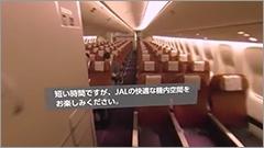 動画では機内に乗り込み、座席に着いて、機内食をとるまでが2分程度で体験できる