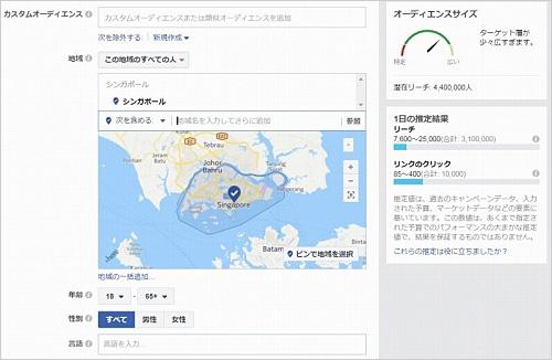 Facebookが顧客向けに提供しているリサーチ機能の画面。地域や属性を指定して、リーチ可能な人数やリンクのクリック数などを推定できる