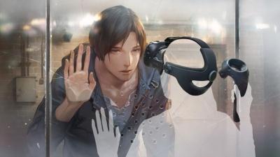 ガラスに手を当てるハルト。彼の手に合わせてコントローラーをガラスに近づけると、あなたとハルトの熱いシーンが楽しめます!