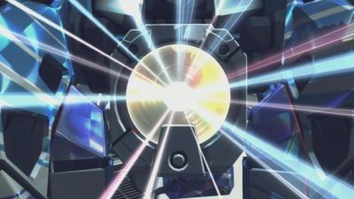 ブースト・ウェポンを発動すると、バーチャロイドのディスクのエフェクトがカットインされる