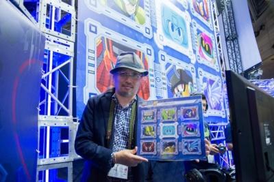 ノベルティは、『ロックマン11』コーナーに展示してあったステージセレクト画面を模したコースター