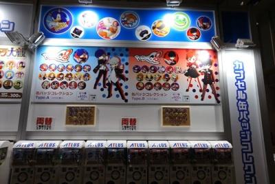 カプセル缶バッジは、セガゲームスの物販コーナーにある