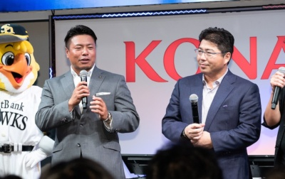 大会のゲストは、東京ヤクルトスワローズで活躍した真中満さん(写真右)と岩村明憲さん(写真左)。真中さんはeBASEBALLについて「一つの野球として、野球界が盛り上がるといい」と語っていた。また、岩村さんは「ゲームで野球を学ぶことで、野球人口のさらなる拡大」を期待していた