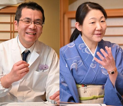 静香庵の平野徹夫料理長(左)は「米粒が主張している感じで、見た目がとにかくきれい」と語る。「みなさん、ご飯を見て『本当に粒が大きいね』とおっしゃいます」と同店の駒澤弘美マネージャー(右)