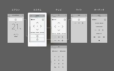リモコンごとに画面を切り替えて操作できる(上)。さらに、カスタマイズ機能で使いたいボタンを組み合わせた画面を作ることも可能(下)