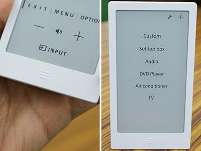 本体下部には、スマホのホームボタンのようなボタンもある(左)。ここをタッチすると登録したリモコンの一覧画面を表示(右)。登録数が多いほど、切り替えがスムーズになる