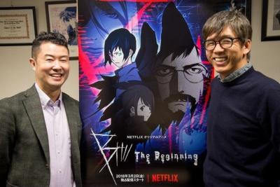 プロダクション・アイジーの石川光久社長(右)とNetflixでコンテンツアクイジションアニメ ディレクターを務める沖浦泰斗氏