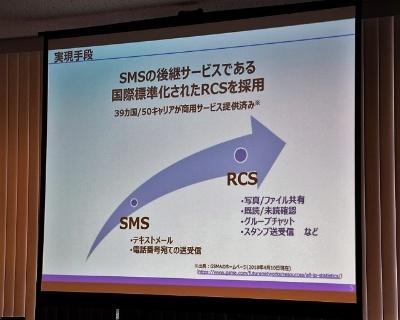 「+メッセージ」はSMSを進化させた国際規格「RCS」を採用したサービスで、携帯電話サービスの延長線上にある