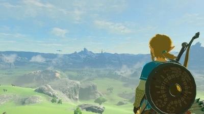 遠くに見えるのがハイラル城。ゲーム開始直後に発見できる。すぐに行くこともできる (c)2017 Nintendo