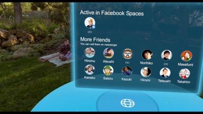 Facebook Spaces内では、Facebook Spacesにログインしているユーザーと、それ以外のユーザーが分類されて表示される。Facebook Spacesでログインしているユーザーに対してはInvite(招待)、Join(参加)、Video Call(ビデオ通話)が可能。Facebook Spacesにログインしていないユーザーに対してもVideo Callは利用できる