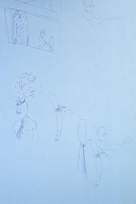 『アイアムアヒーロー』の検討段階のメモ。劇中に登場するZQN(ゾンビ)の頭が吹っ飛ぶイメージを描いたもの。「なんとなく描いた絵がよかったので、後で拡大して、スタッフと共有する資料に貼り付け、配ったこともある」(佐藤監督)