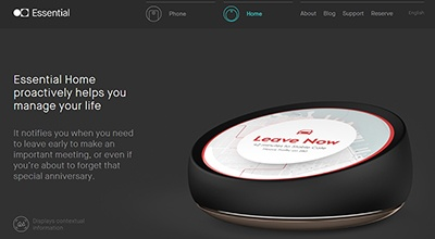 Essential Homeは、上部にディスプレーを搭載している(米Essential社のWebサイトより)