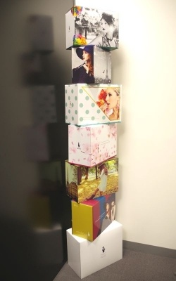 ラクサスで借りたバッグは、写真のようなオリジナルの箱に入れて送られてくる。返却時にも同じ箱を使うため、箱は捨てられない。「借りている間、部屋に置いていても邪魔にならないように、デザインに凝っている」(馬場添氏)