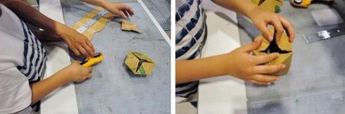 ダンボールとカッターを使ったアナログなものづくりを体験できるブースも。出展者の「テアタマ~ズ!」は、手で作り、手で考える新しい遊び方を子どもに提案するユニット