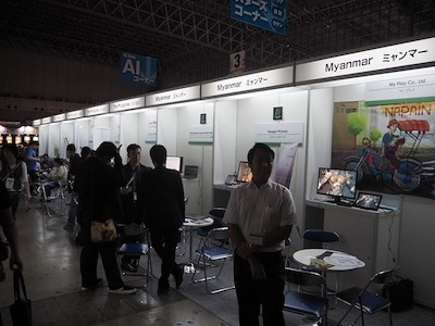 日本アセアンセンターの協力によって、タイやシンガポールだけでなく、ミャンマーの企業などもブースを出展。熱心さがうかがえる