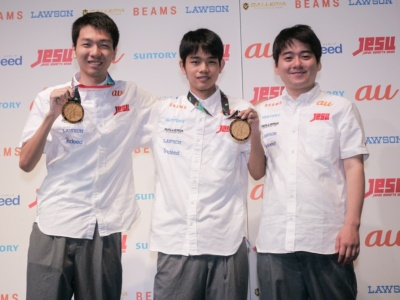 第18回アジア競技大会に出場した、杉村直紀選手(左)、相原翼選手(中央)、赤坂哲郎選手(右)