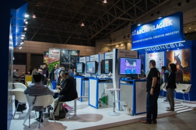 インドネシアの大手ゲーム開発会社7社が出展したBEKRAFのブース